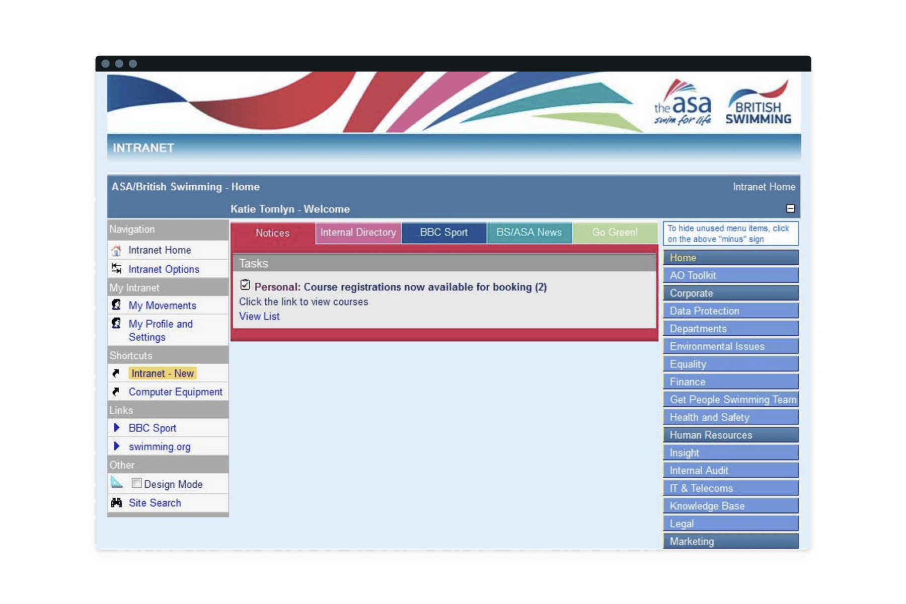 The old ASA and British Swimming Intranet