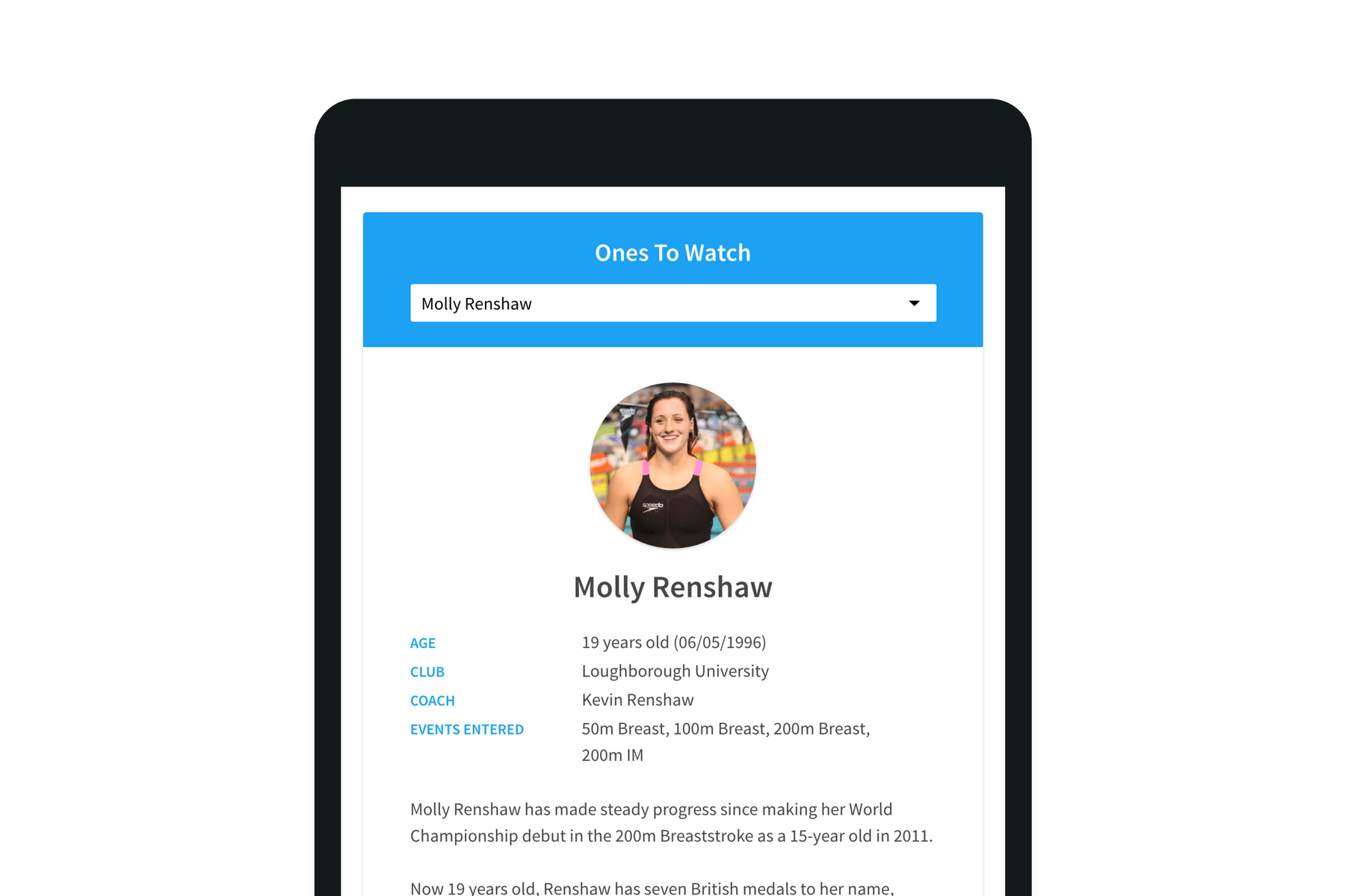 Tablet showing Molly Rensaw's stats