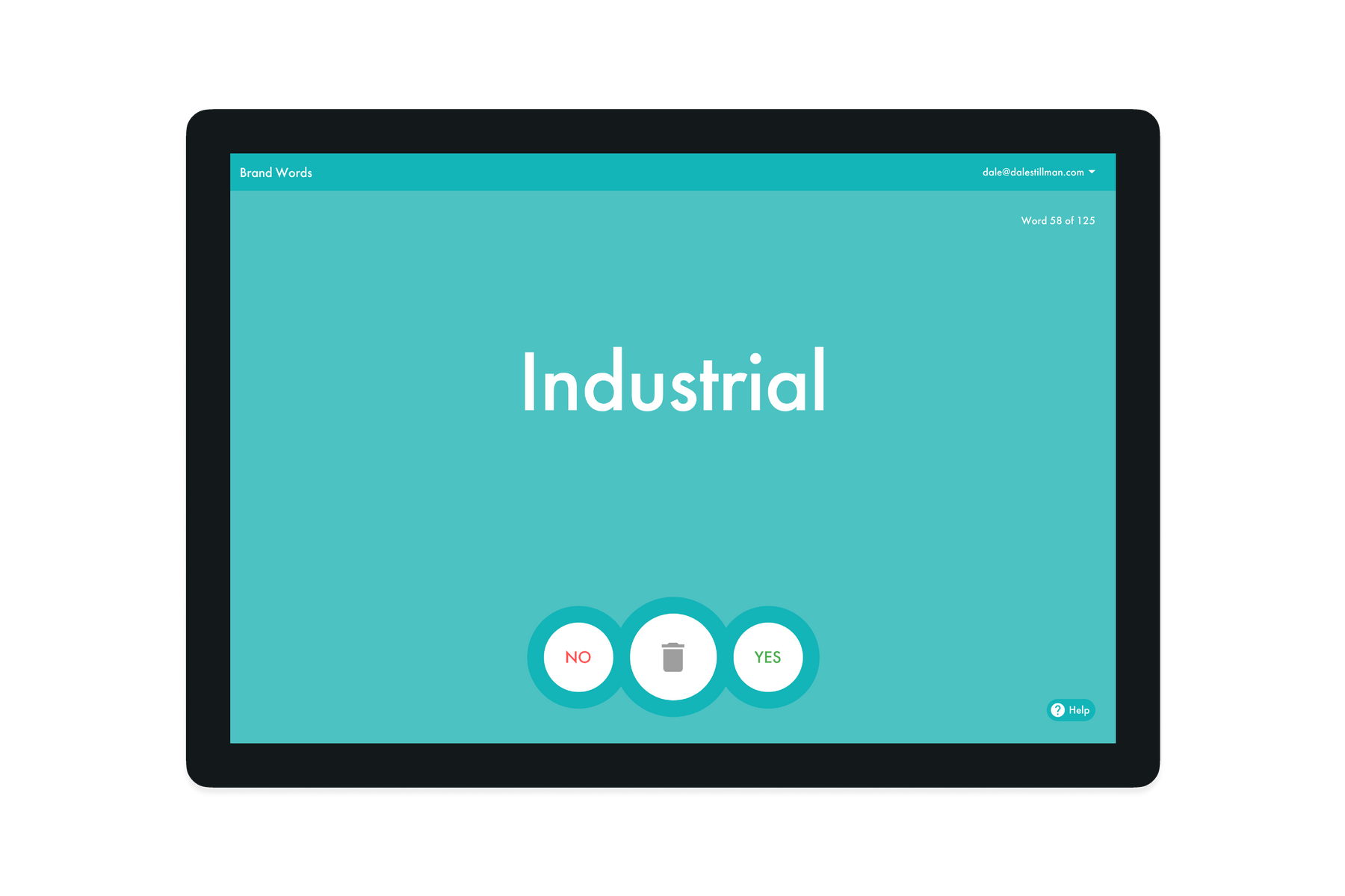 Tablet showing on the Brand Word Industrial