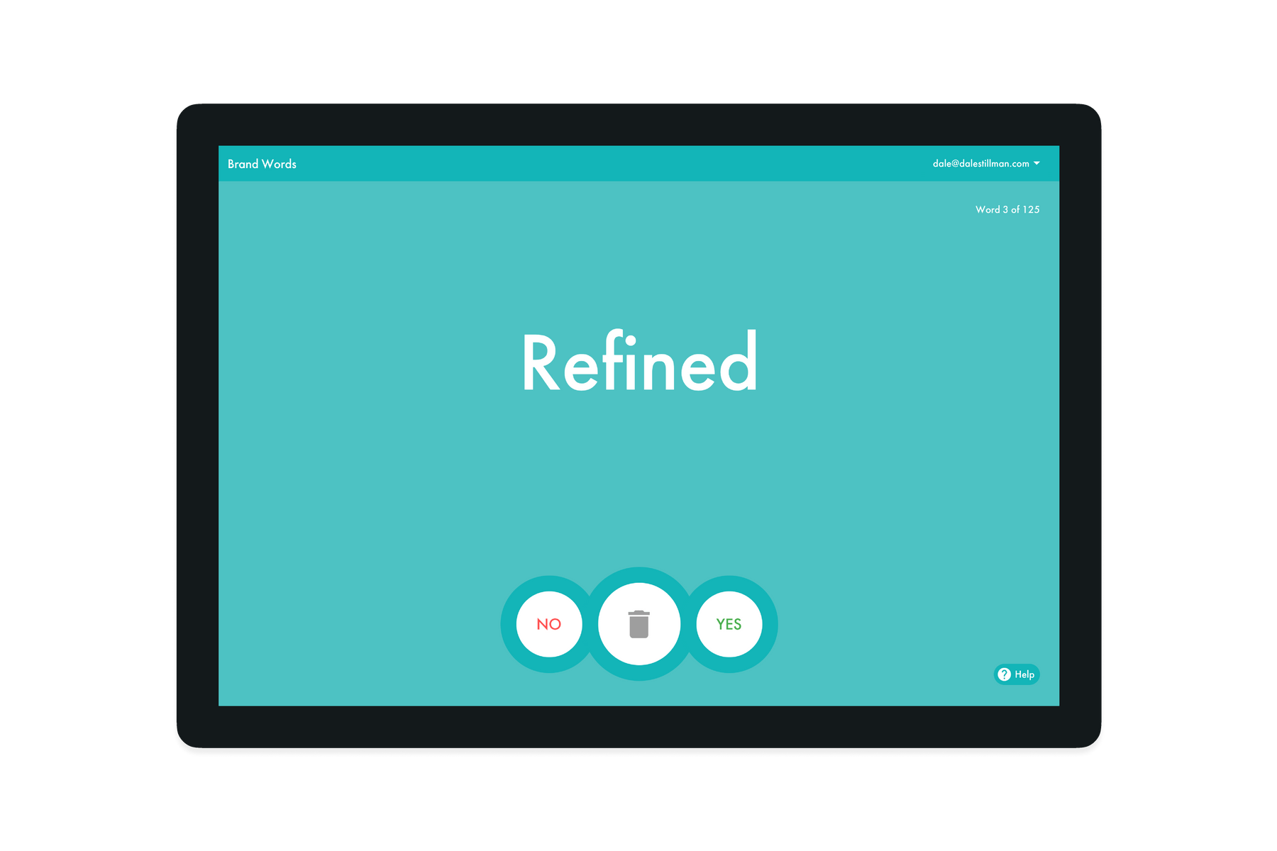 "Tablet showing the Brand Word ""Refined"""