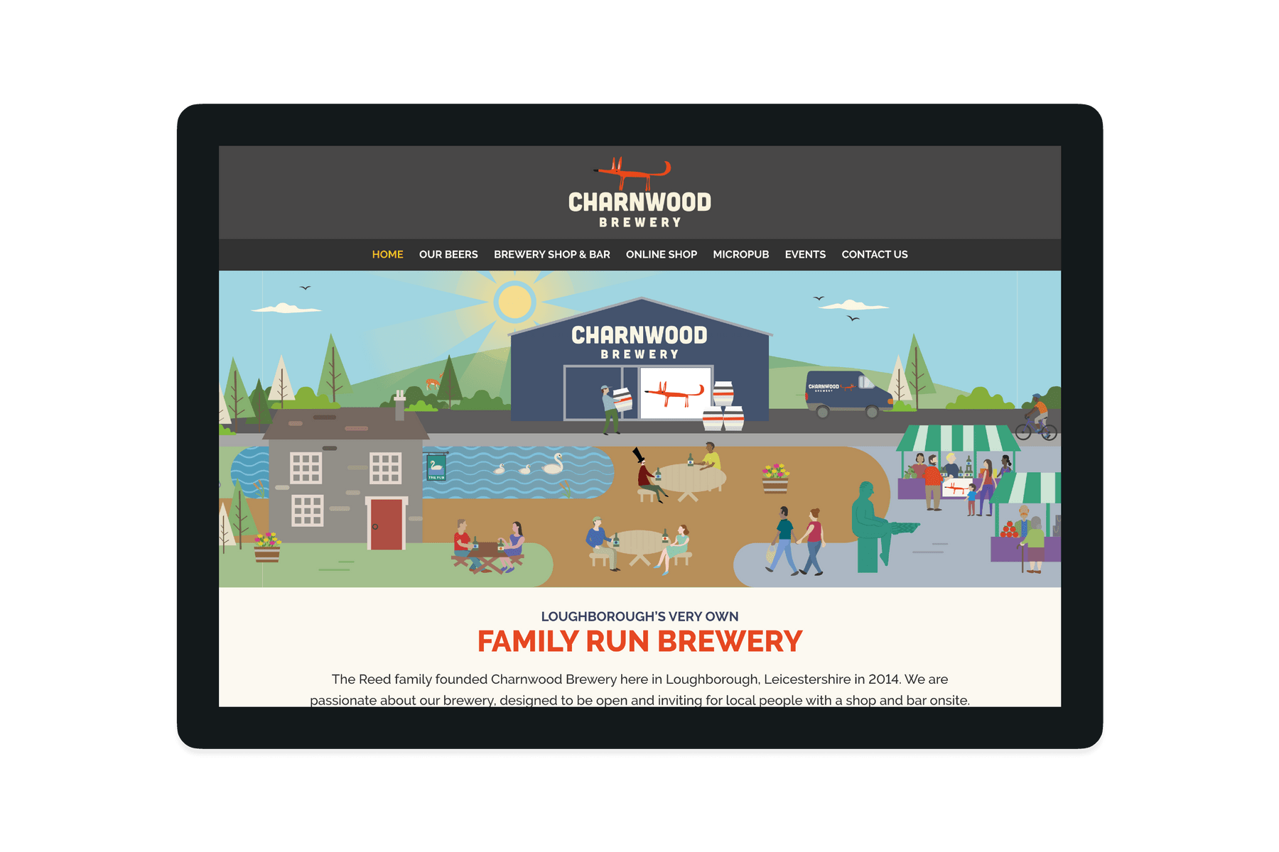 Tablet showing the Charnwood Brewery website home page