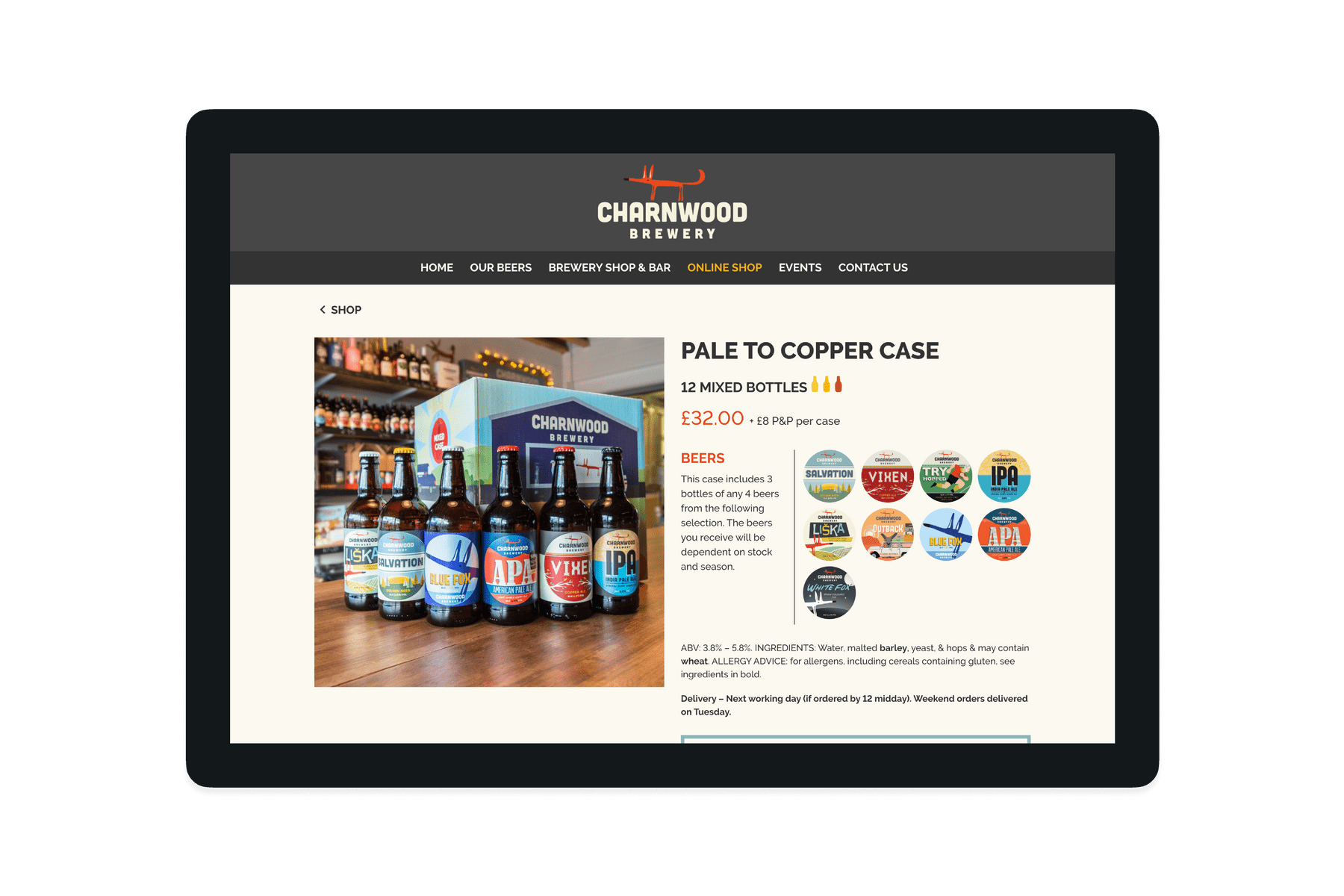 A Charnwood Brewery product page showing a case of pale to copper beers
