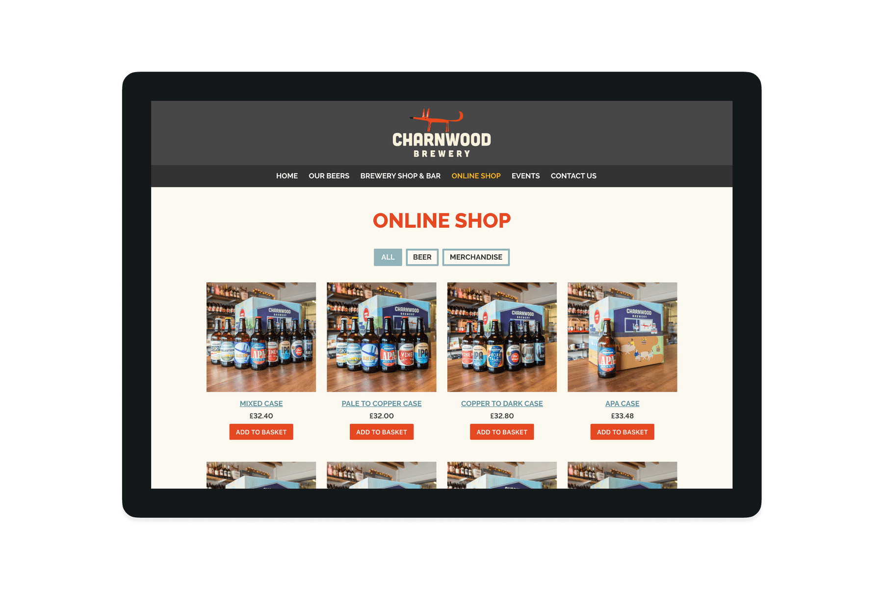 Tablet showing the Charnwood Brewery webshop