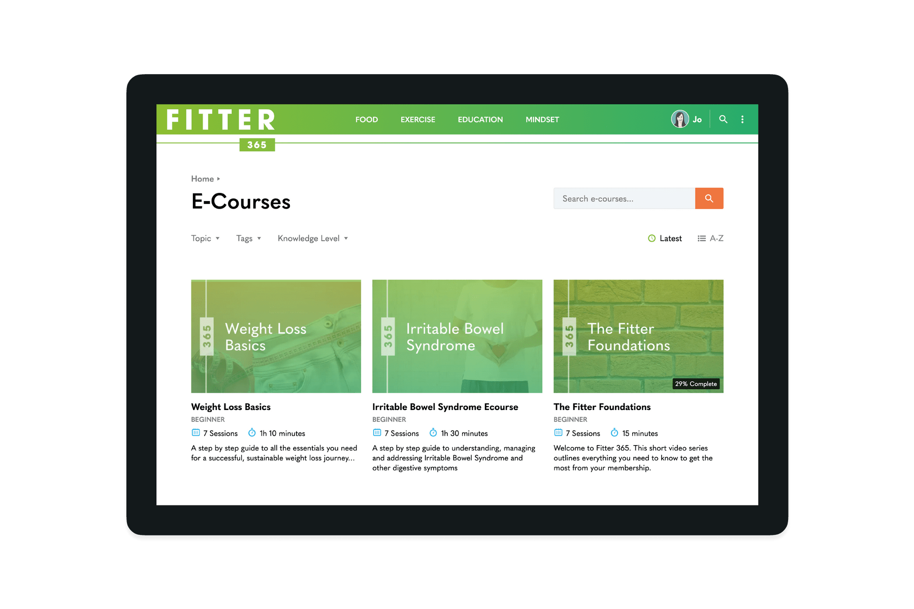 Tablet showing the Ecourses on the Fitter 365 website
