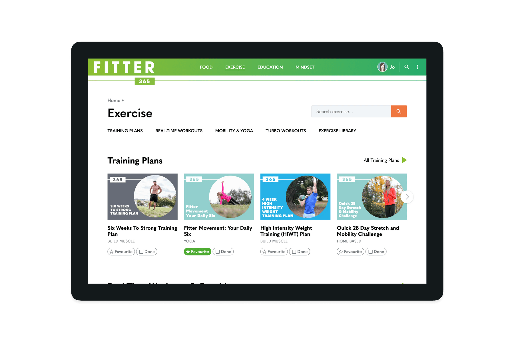 Tablet showing the exercise sesction of the Fitter 365 website