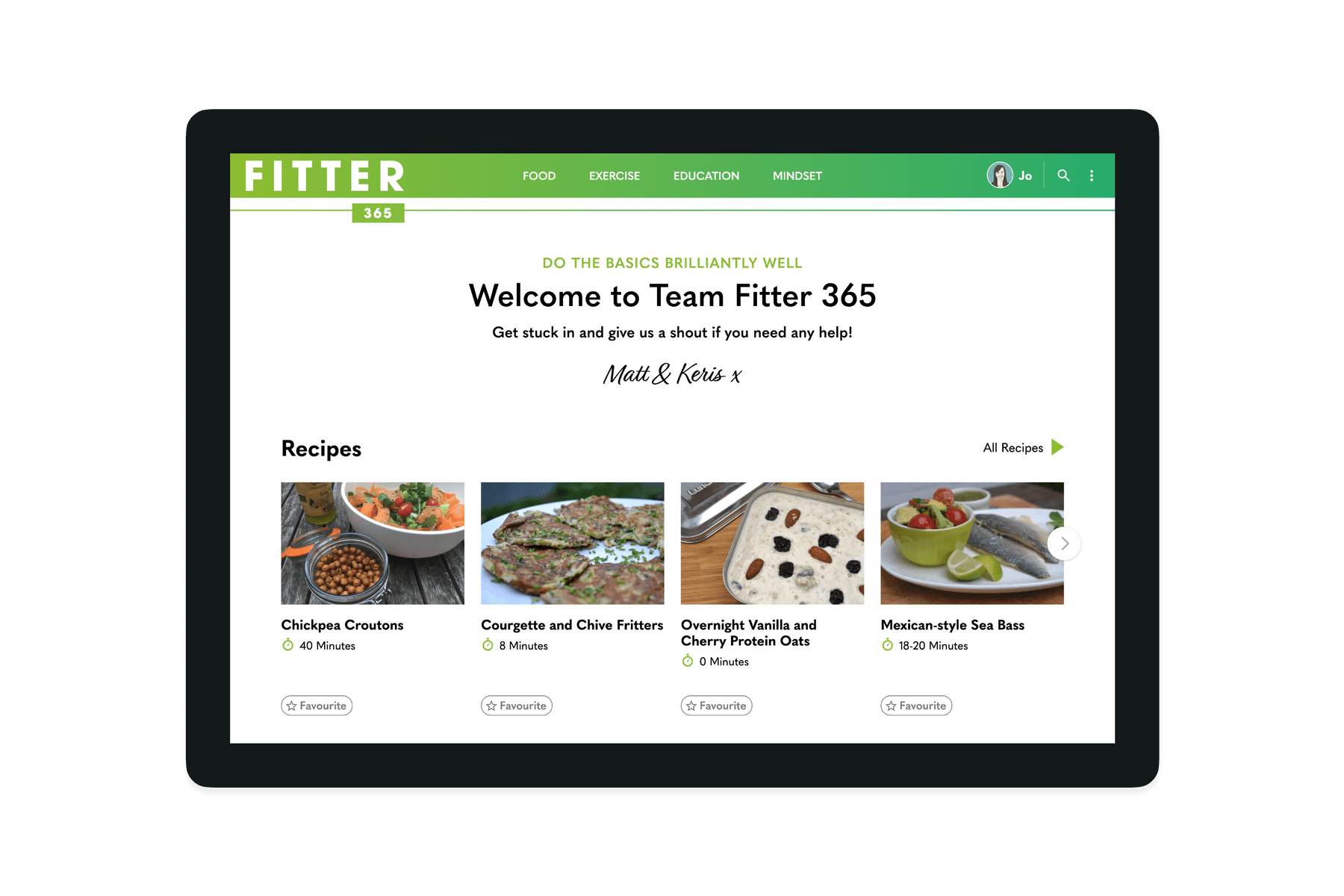 Tablet showing the members home page of the Fitter 365 website