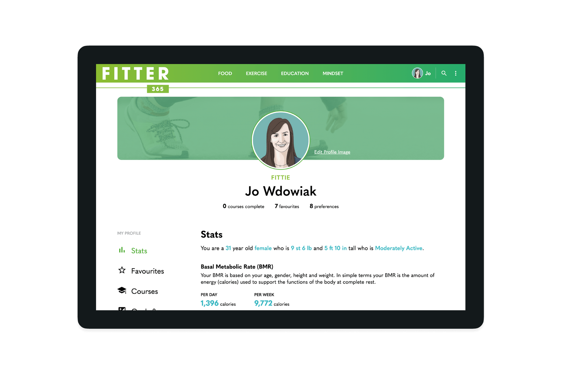 Tablet showing the user profile section of the Fitter 365 website