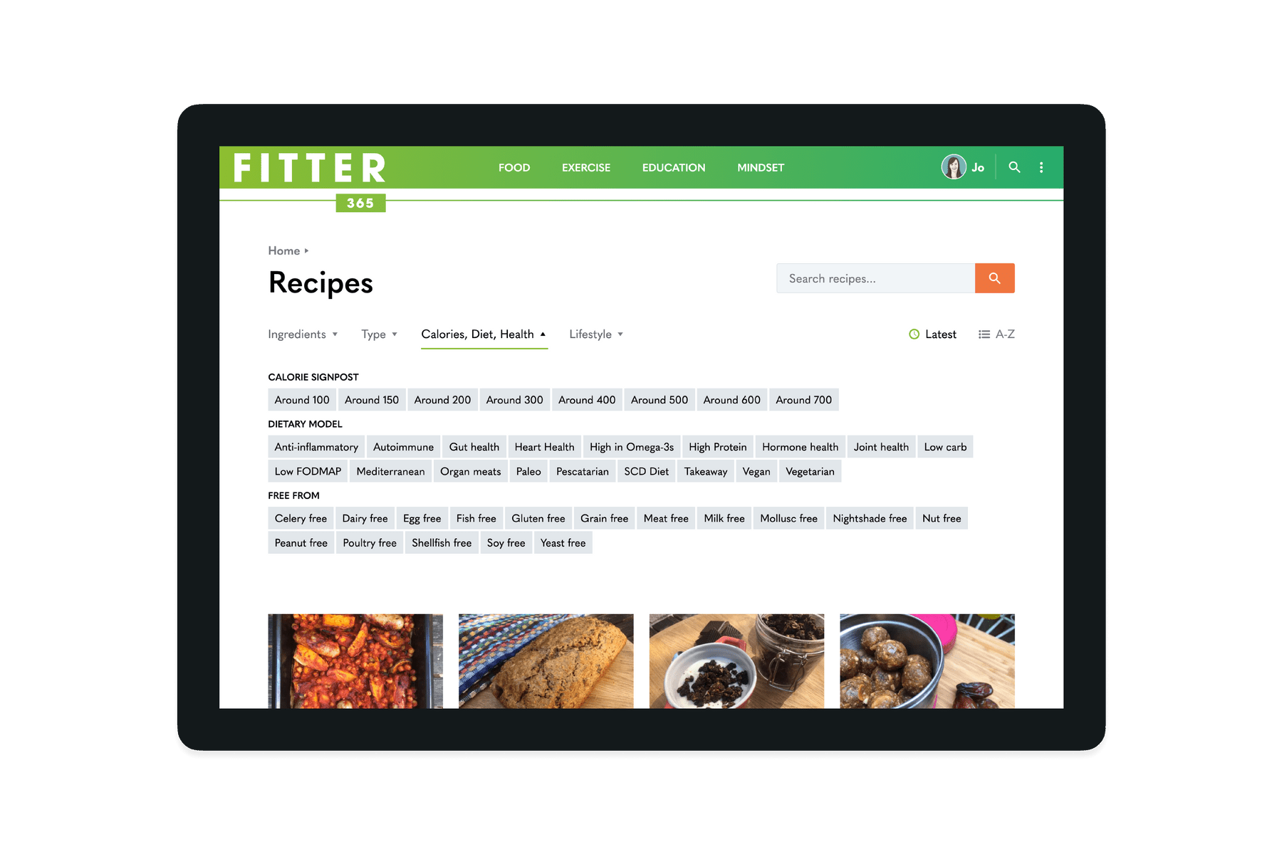 Tablet showing the Recipe filters on the Fitter 365 website