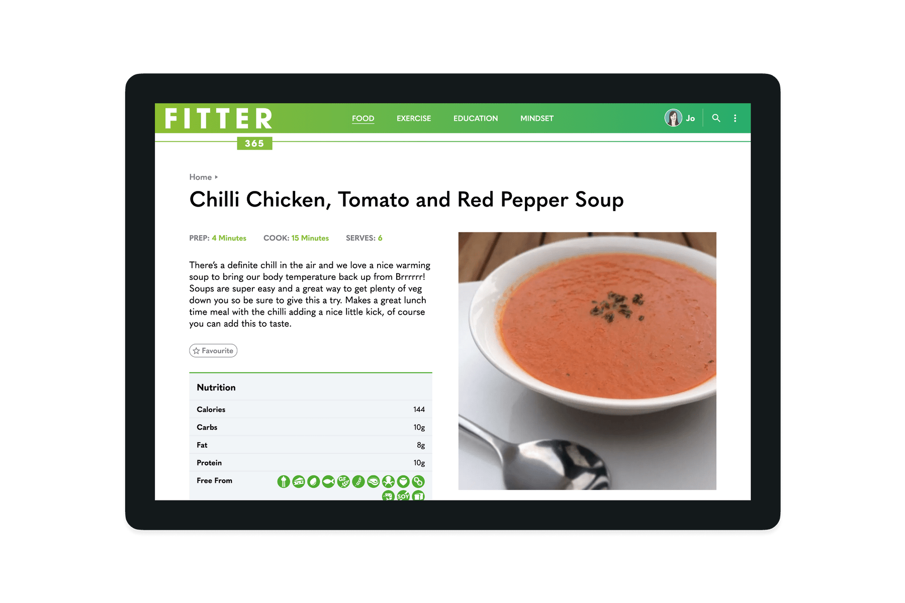 Tablet showing a recipe page of the Fitter 365 website
