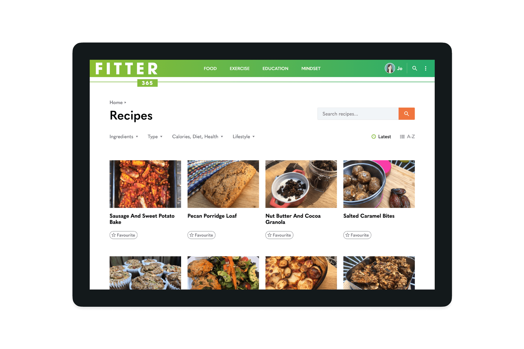 Tablet showing the recipes page of the Fitter 365 website