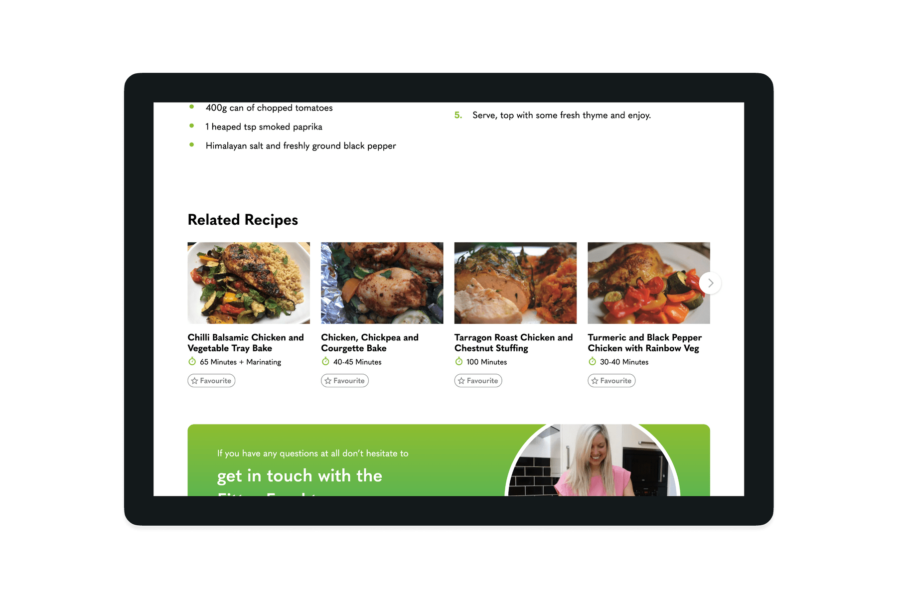 Tablet showing the related recipes on the Fitter 365 website