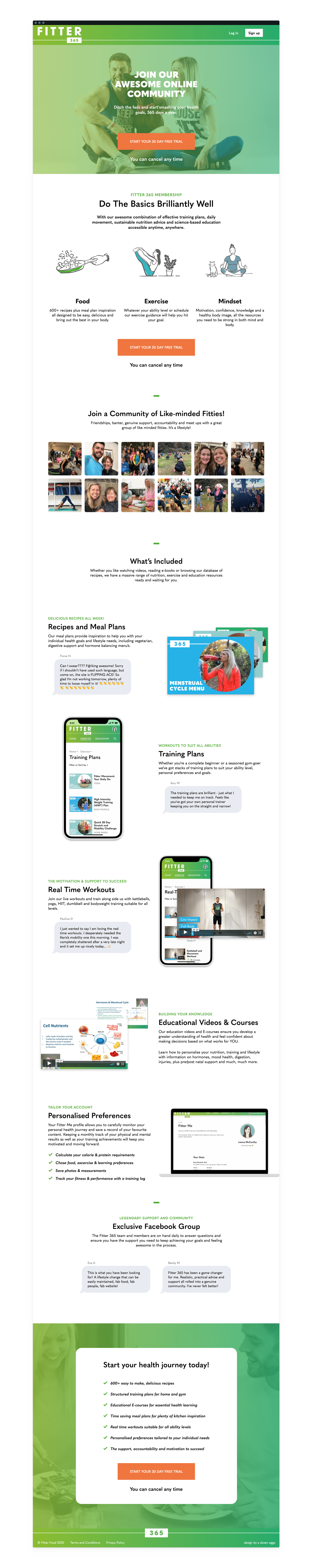 Sales page for Fitter 365