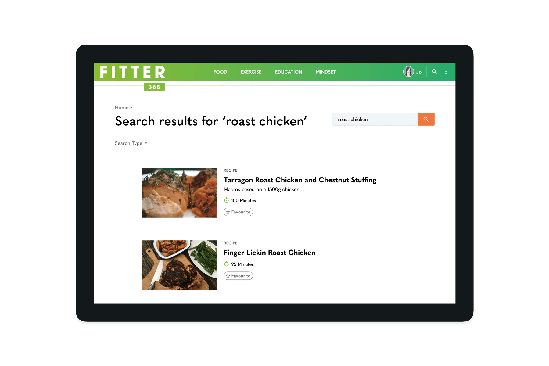 Tablet showing search results on the Fitter 365 website