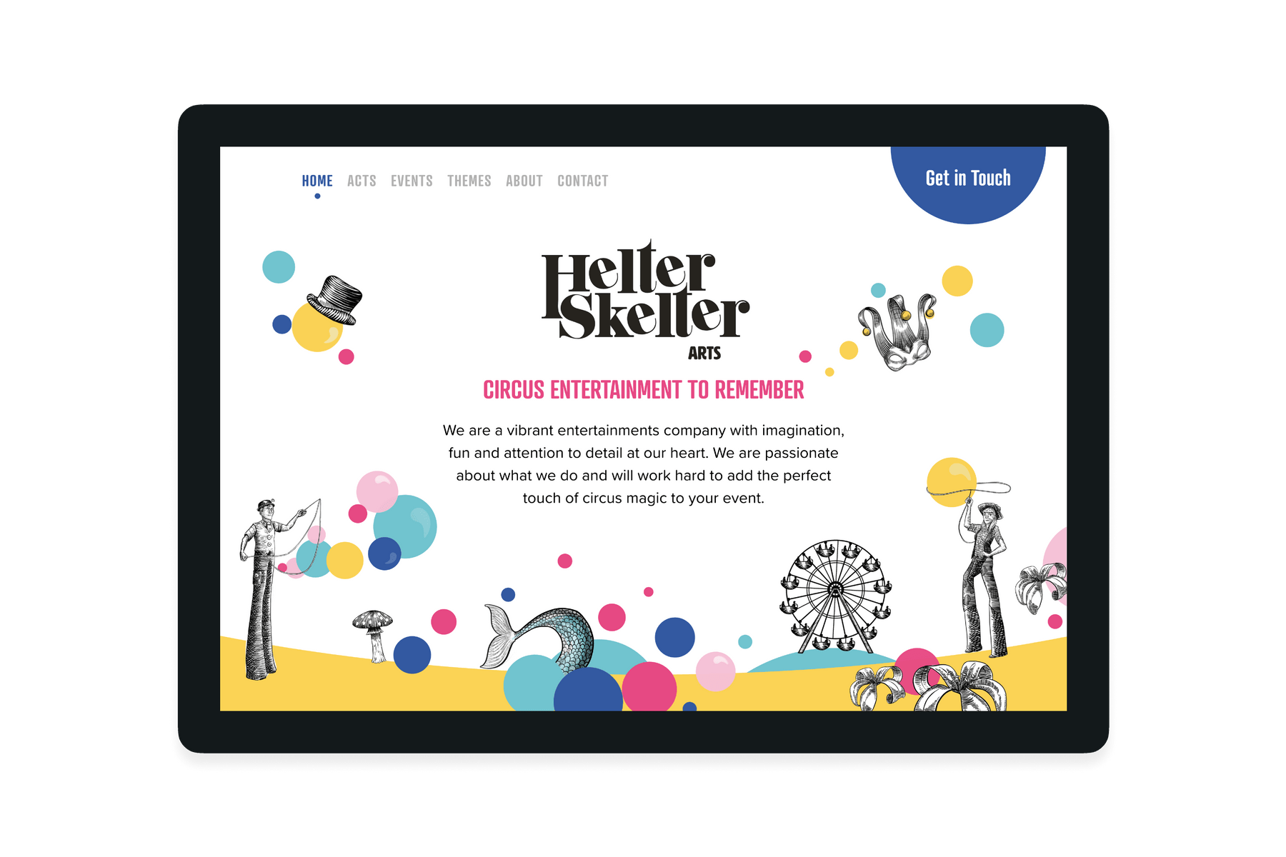 Tablet showing the design of the Helter Skelter website
