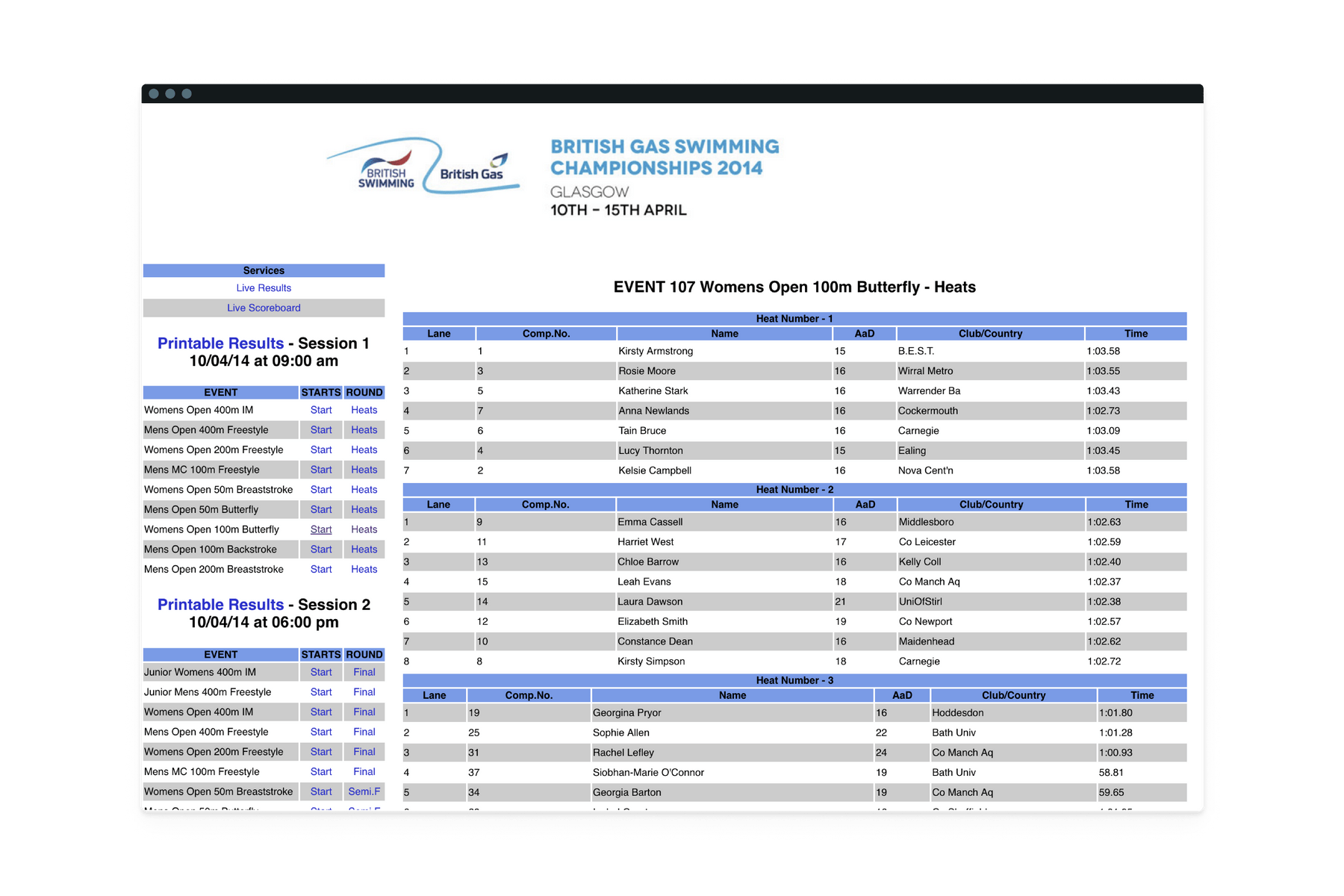 UI showing SportSystems full version of startlist for Women's 100m Butterfly